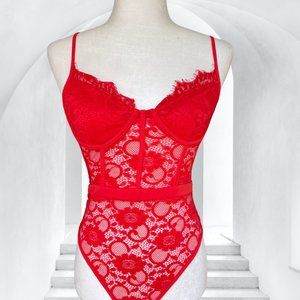 MANAA Cherry Red Lace Bodysuit